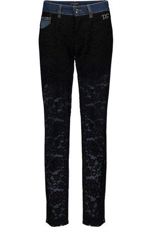 Dolce & Gabbana High-Rise Boyfriend Jeans mit Spitze