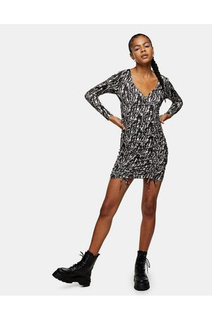 Topshop Animal print ruched mini dress in