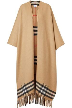 Burberry Damen Mäntel - Fringed check cape