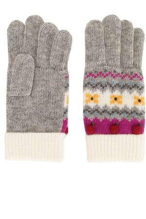 Familiar Intarsia knit apple motif gloves