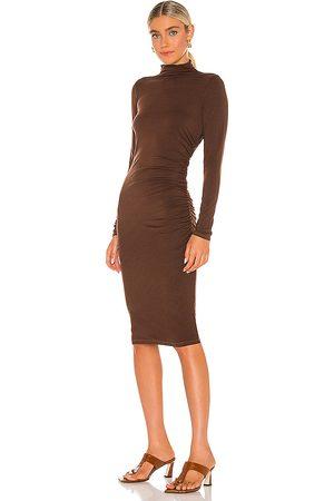 MICHAEL STARS Mock Neck Midi Dress in - Chocolate. Size L (also in XS, S, M).