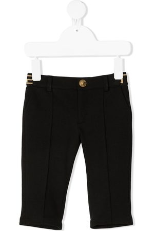 VERSACE Logo-tape pressed-crease trousers