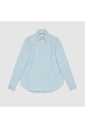 Gucci Herren Freizeit - Hemd aus Baumwolle und Fil Coupé mit GG Streifen-Motiv