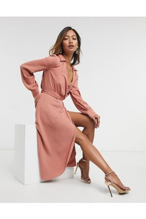 ASOS Collared wrap midi dress with tie belt in terracotta-Pink