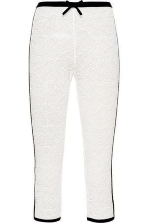 Miu Miu Damen Leggings & Treggings - Lace-embroidered cropped leggings