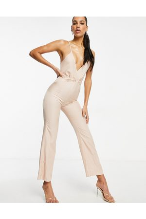 I saw it first Ruffle detail satin jumpsuit in
