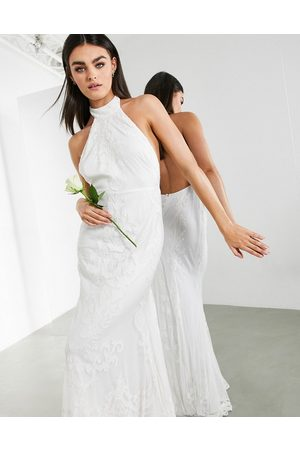 ASOS Ottilie halter applique and embroidered wedding dress with fishtail