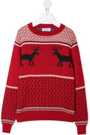 SIOLA Pullover - TEEN reindeer-motif intarsia-knit jumper
