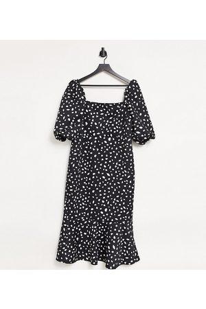 True Violet Square neck puff sleeve fishtail midi dress in spot print