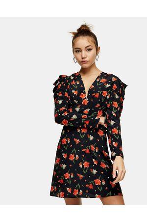 Topshop Ruched waist mini dress in tulip print