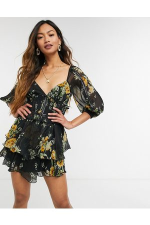 ASOS Floral printed dobby mini dress with PU tape detail