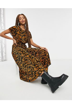 ASOS Plisse midi dress with rope belt in camel and black animal print