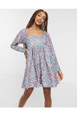 ASOS Cord mini dress with square neck in ditsy floral