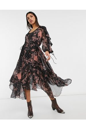 ASOS Drape ruffle midi dress with lace insert and tassel detail in blurred floral
