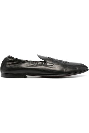 Dolce & Gabbana Herren Halbschuhe - Logo-embroidered leather loafers