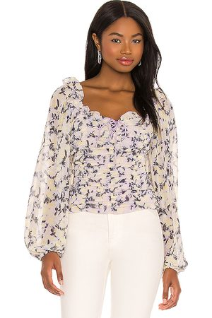Free People Mabel Printed Blouse in - Cream,Lavender. Size L (also in M, XS, S).
