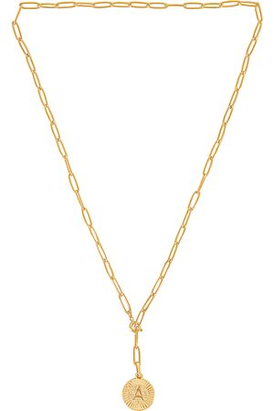 BRACHA Initial Medallion Lariat Necklace in - Metallic . Size A (also in B, C, D, E, G, H, J, K, L, M, N, P, R, S, T).