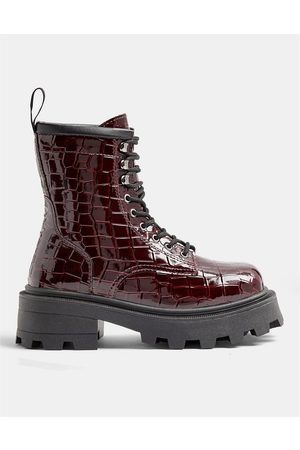 Topshop Square toe lace up boots in burgundy