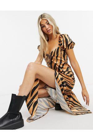 Another Reason Maxi tea dress in satin zebra print