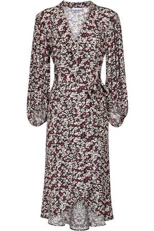 Ganni Damen Freizeitkleider - Bedrucktes Wickelkleid aus Crêpe
