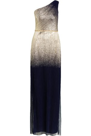 Marchesa Notte One-Shoulder-Abendkleid blau