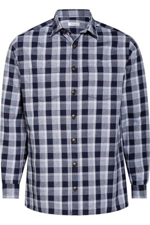 PAUL Herren Freizeit - Flanellhemd Regular Fit blau