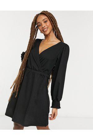 New Look Shirred cuff crinkle mini dress in
