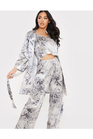 In The Style X Lorna Luxe satin contrast trim robe with belt in navy floral