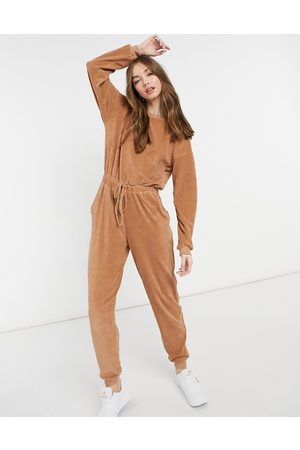 ASOS Towelling button back jogger jumpsuit in camel