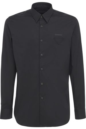 Prada Herren Shirts - Hemd Aus Baumwollpopeline Mit Logo