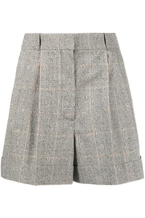 Alexander McQueen Damen Shorts - Checked high-waisted shorts