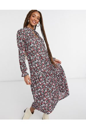 ASOS Long sleeve midi dress with v neck and frill cuff in floral print