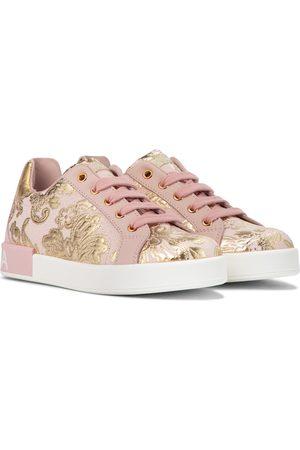 Dolce & Gabbana Sneakers aus Brokat und Leder