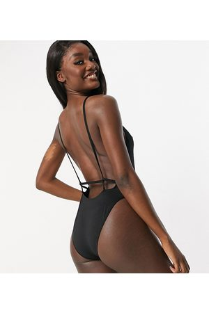 ASOS ASOS DESIGN tall recycled twist strappy low back swimsuit in