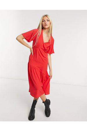 New Look Tier hem midi dress in bright
