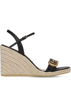 Gucci Damen Espadrilles - 85mm Hohe Plateau-espadrilles Aus Leder