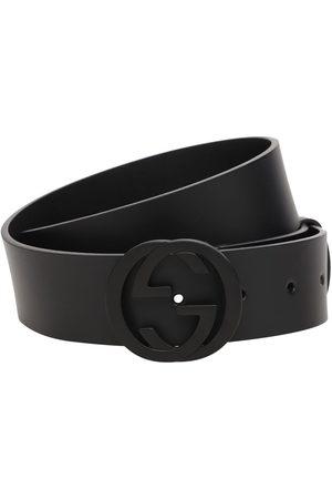 Gucci 37mm Breiter Ledergürtel Mit Logoschnalle