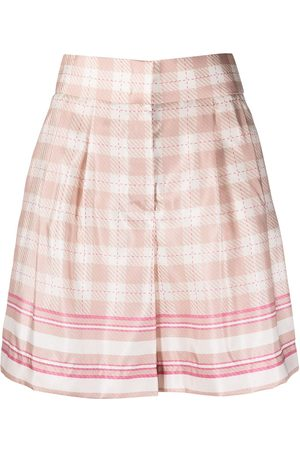 Alberta Ferretti High-rise check-print satin shorts