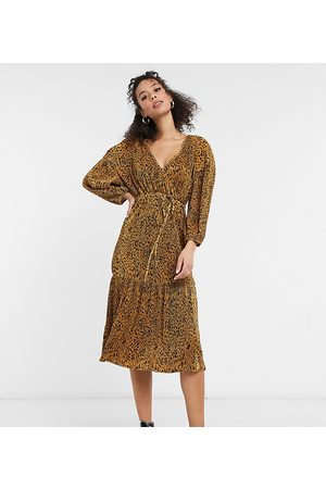 ASOS ASOS DESIGN Tall midi plisse wrap long sleeve belted dress in neutral animal print