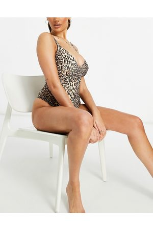 ASOS Fuller bust ribbed loop strappy back swimsuit in leopard print dd-g