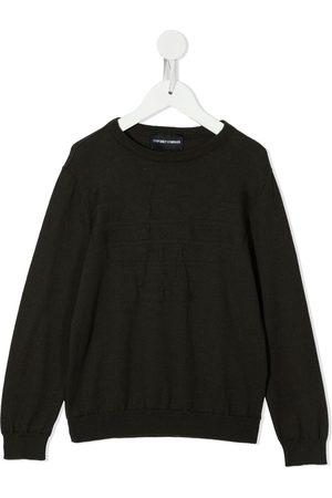 Emporio Armani Jungen Pullover - Logo-embroidered knitter jumper
