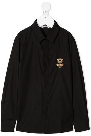 Dolce & Gabbana Jungen Shirts - Logo-print long-sleeved shirt