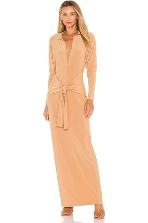 Norma Kamali Ty Front NK Midcalf Shirt Dress in - Tan. Size L (also in M, S, XS).