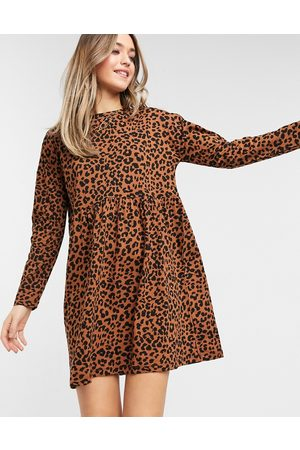 ASOS Smock mini dress with long sleeves in leopard print