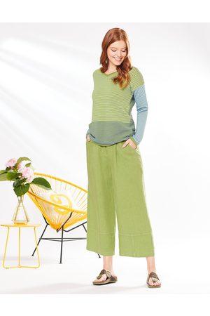 Deerberg Damen Leinen-Hose Dalila salatgrün - Auch in Übergrößen