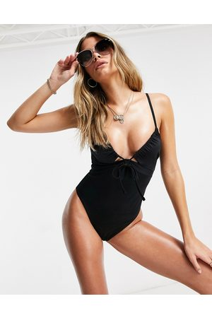 ASOS Recycled ruched tie swimsuit in