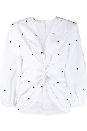 Serafini Damen Blusen - Polka-dot front-tie blouse