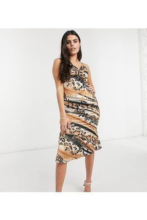Outrageous Fortune Midi slip dress in animal print