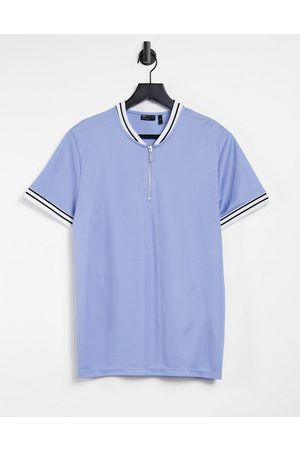 ASOS T-shirt in light with bomber neck and tipping