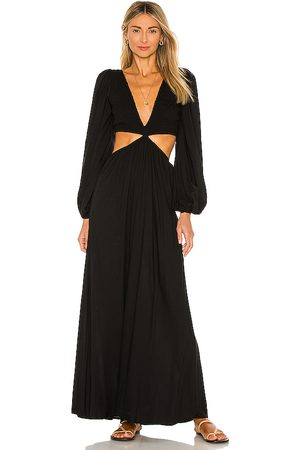 Indah Julie Solid Ruched Bodice Cutaway Maxi Dress in - . Size L (also in M, S, XS).